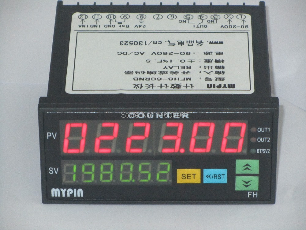 90 265V AC/DC Original  Mypin 6 digits Counter Meter Batch Counter 2 Relays Output FC8 6CRRB 48H X 96W Free Shipping-in Counters from Tools    1