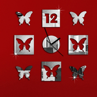 4 Butterfly 4 Squres For Baby Nursery Room Art Luxury 3D Crystal Mirror Wall Clock Wall