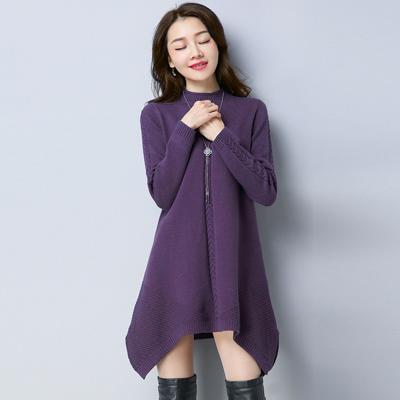 5 colors 4 size Fashion all match women irregular knitted dress round collar long sleeve comfortable lady long sweater HM1017