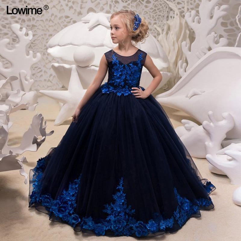 Popular Brand Janevini Vintage Royal Blue Girls Dresses 2018 White Applique Velvet Long Princess Kids Flower Girl Dresses For Weddings Holiday Wedding Party Dress