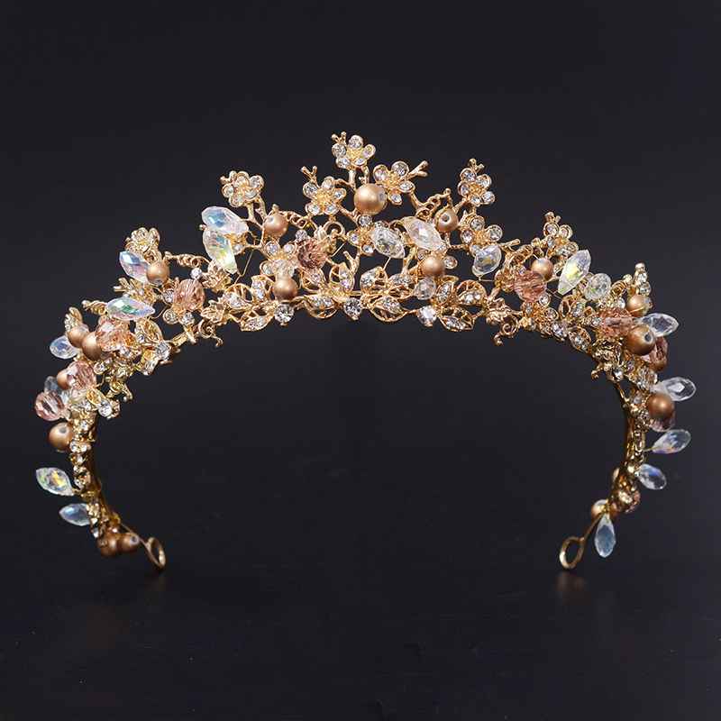 Fashion Magnificent Diadem Clear Crystal Bridal Tiaras Flower Wedding Crown för brudens bröllopspageant hårtillbehör