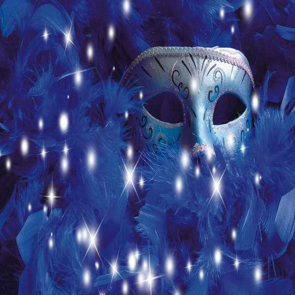 10x10FT Masquerade Mardi Gras Silver Mask Royal Blue Feather Sparkles Custom Photo Studio Backdrop Background Vinyl