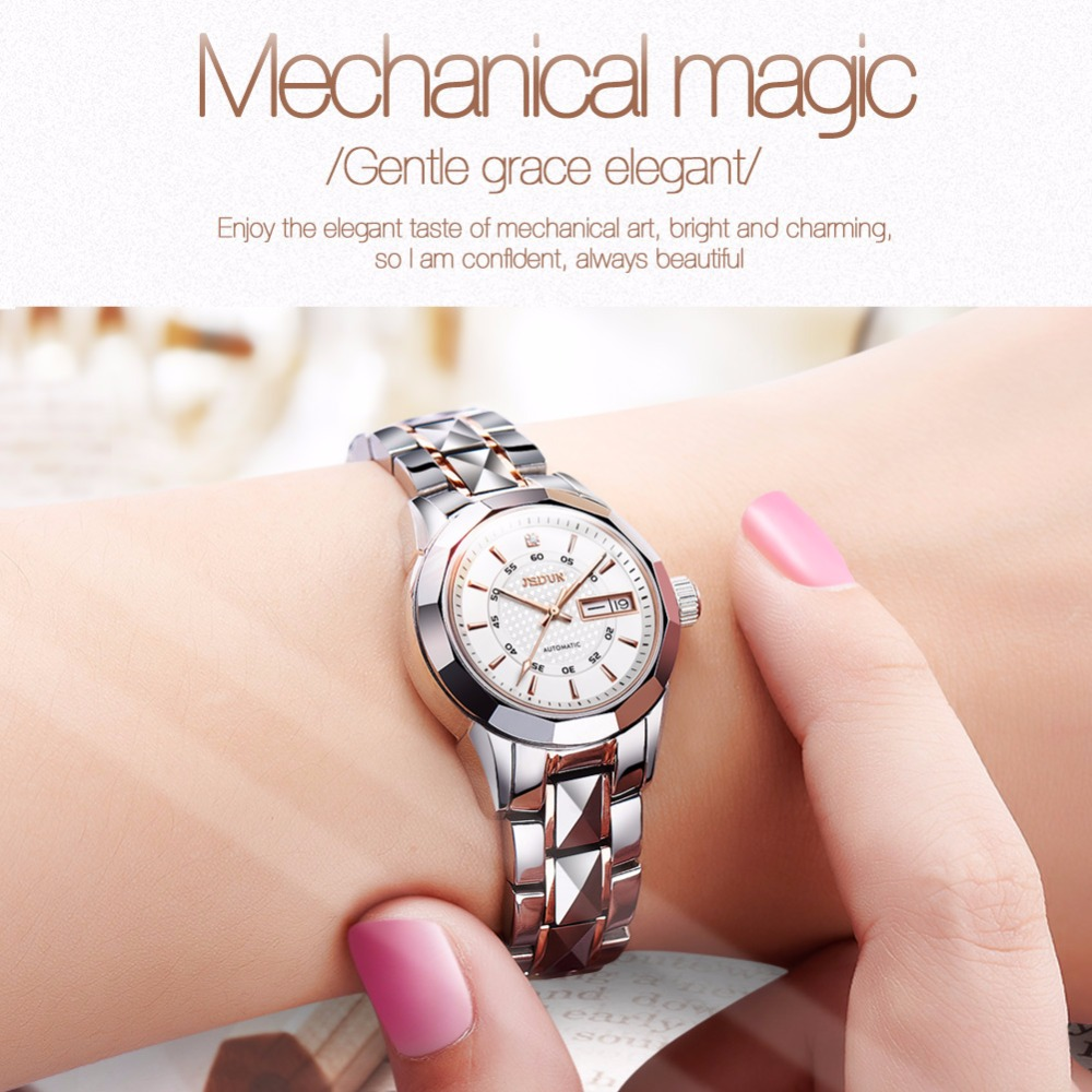 Women watches Luxury JSDUN Top Brand Tungsten Steel Auto date waterproof mechanical watches Fashion Dress clock relogio feminino