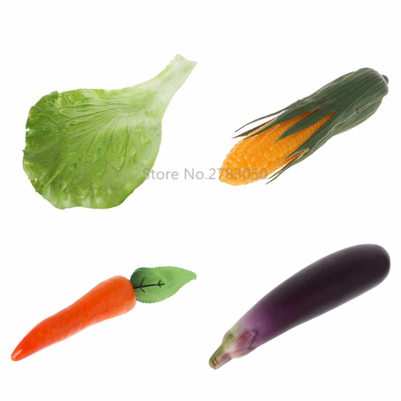 Artificial Carrot Corn Eggplants Lettuce Leaves Simulation Fake Vegetable Photo Props Party Home Kitchen Decoration Kids Toy