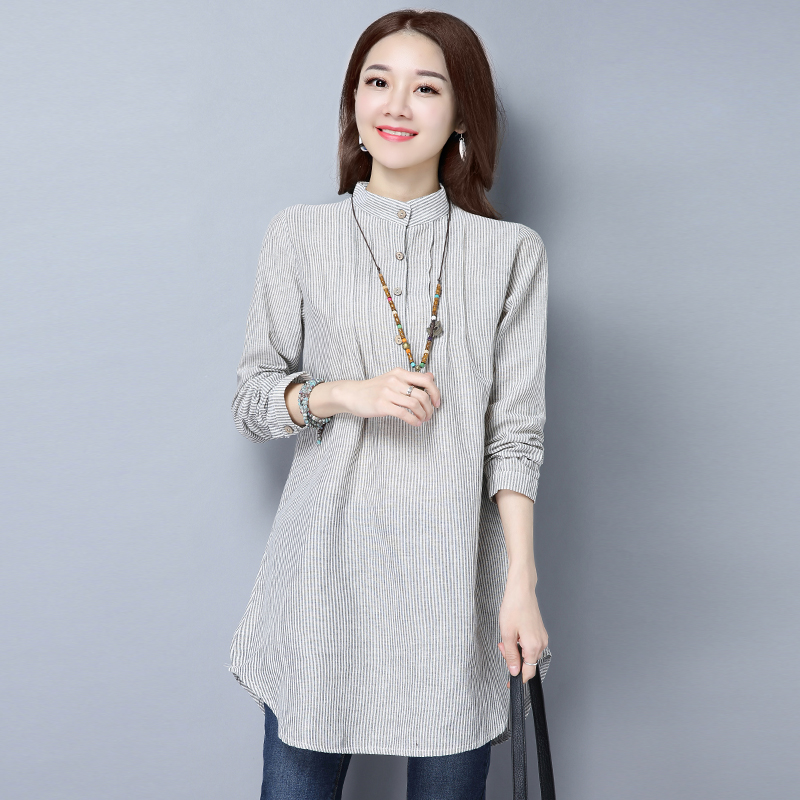 2018 New Women All Match Loose Long Blouse Cotton Linen Stripe Women Blouses Shirts Casual Plus Size Shirt Womens Clothing Tops
