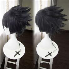 Anime NARUTO Uchiha Sasuke Cosplay Wig Men Soaring Dark Blue Black Heat Resistant Synthetic Hair Wigs + Wig Cap