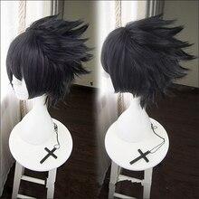 Peruca para cosplay de naruto uchiha sasuke, peruca com gorro de cabelo sintético, para homens, com som azul escuro e preto, resistente ao calor