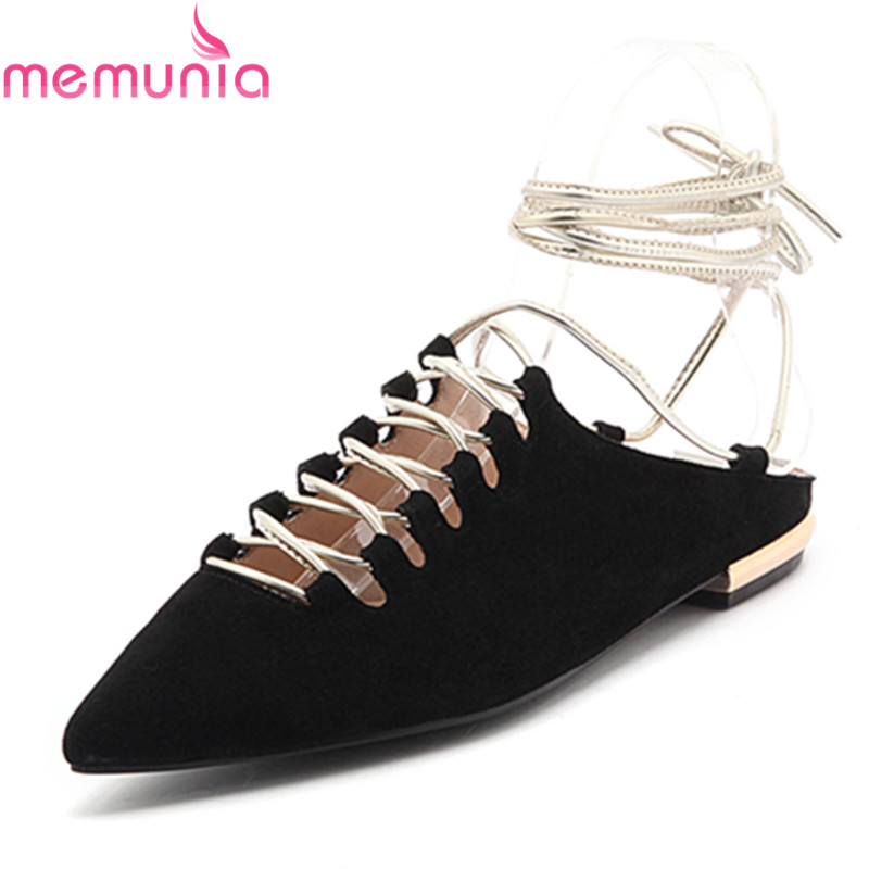 MEMUNIA 2017 new arrive women flats shoes fashion kid suede ankle strap pointed toe spring autumn single shoes sexy prom shoes memunia 2017 fashion flock spring autumn single shoes women flats shoes solid pointed toe college style big size 34 47
