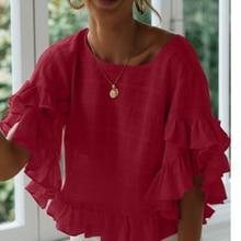 Women Casual Flare Sleeve Blouse Loose Ruffle Top Summer Chiffon Blouses Tops ruffle trim flare sleeve top