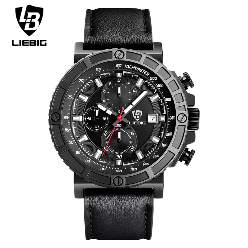 LIEBIG Men Quartz Wristwatch Sand Blasting Military Outdoor Watches Leather Waterproof Fashion Relogio Masculino Stopwatch 1015