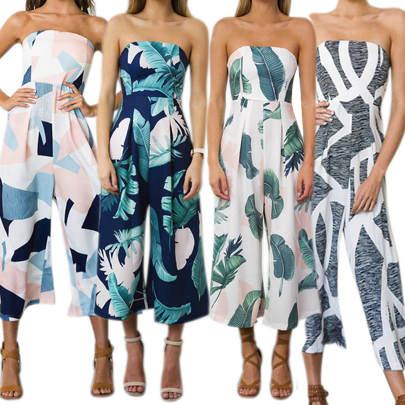Fashion Summer Women Sexy Jumpsuits Printing Off Shoulder Sleeveless Backless Elegant Ladies Girls Romper FS99