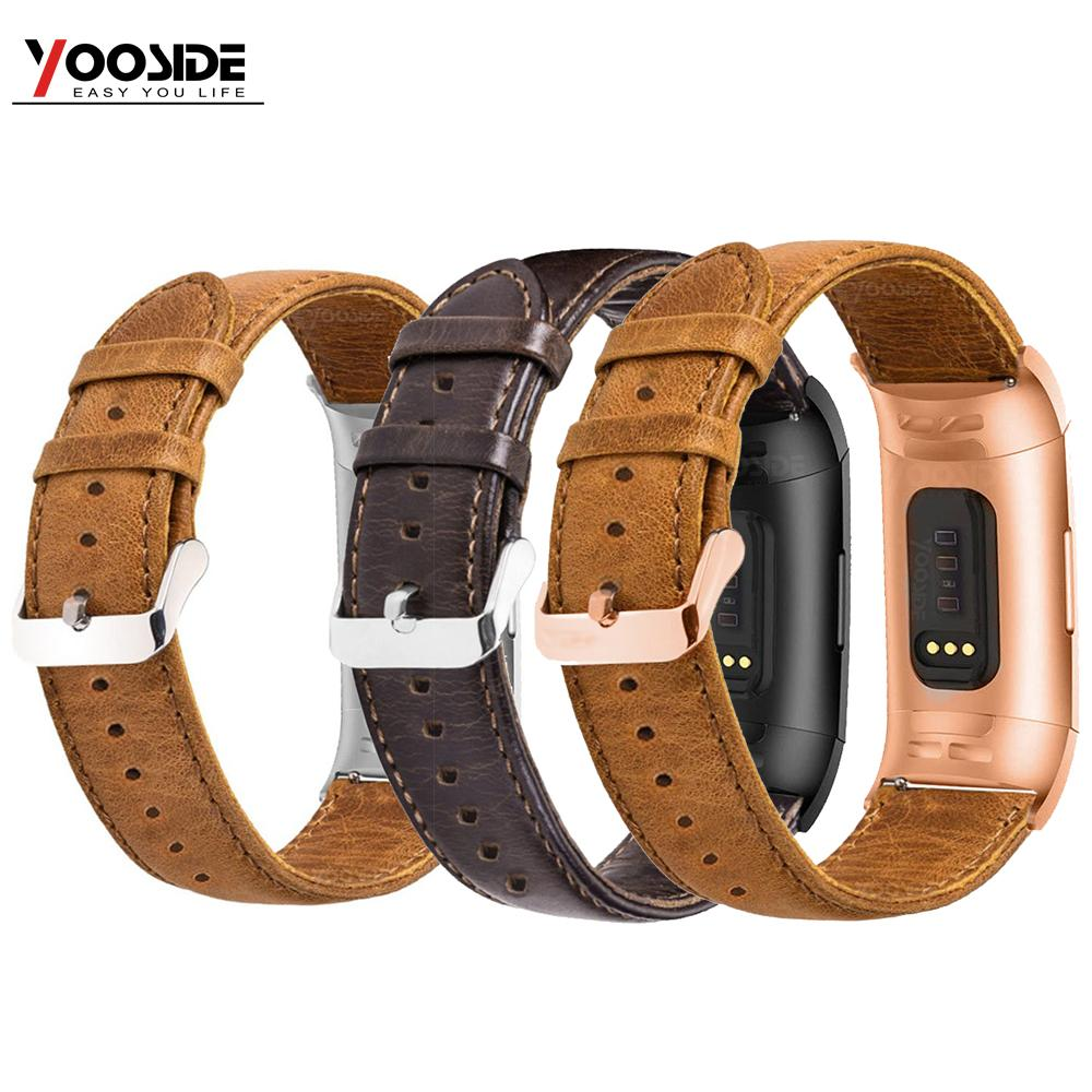 YOOSIDE for Fitbit Charge 3 Genuine Leather Band Strap Men Wonwen Wristband for Fitbit Charge 3 /Charge 3 SE Smart BraceletSmart Accessories   -