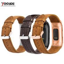 Yooside pulseira masculina de couro legítimo, pulseira para fitbit charge 3/charge 3 se pulseira inteligente,