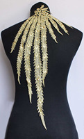 1 Piece Gold White Black Beautiful Venise Lace Feather Peacock Motif Applique Sewing Craft