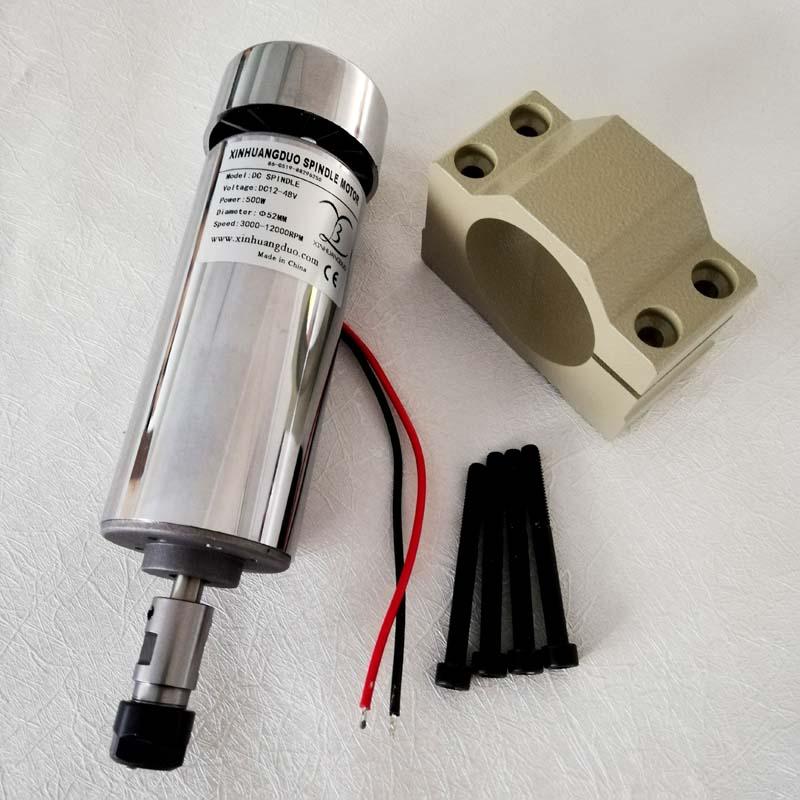 500W Air Cooled DC Spindle Motor 0 5KW 12 48V ER11 ER16 collect The New 52mm