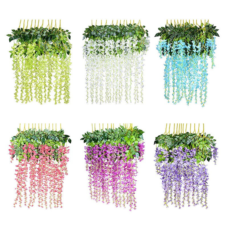 12pcs Silk Artificial Hanging Flower Silk Wisteria Plants Flower