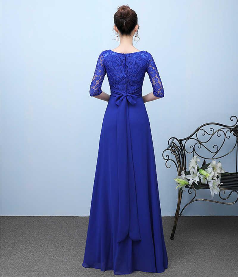 bbf7ce3fbece ... Elegant Royal Blue Evening Dresses 2019 Fashion Lace Half Sleeve Robe  De Soiree Long Formal Evening ...