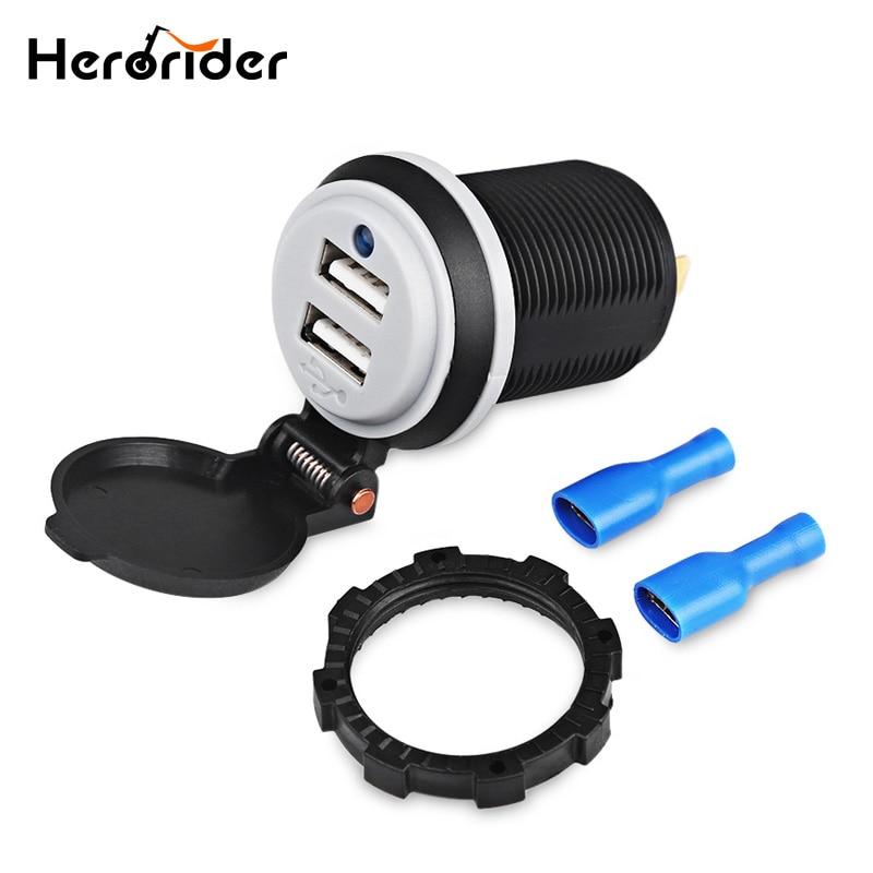 Herorider Voiture Bateau Motos De Voiture Modifiée 5 V 4.2A Dual USB Prise de voiture Chargeur Adaptateur Puissance 2 Ports 12 V Moto USB Socket
