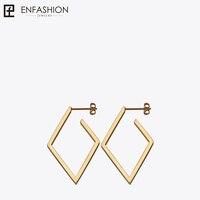 Enfashion Jewelry Geometric Small Rhombus Earrings Gold Color Stainless Steel Long Drop Earrings For Women Earings