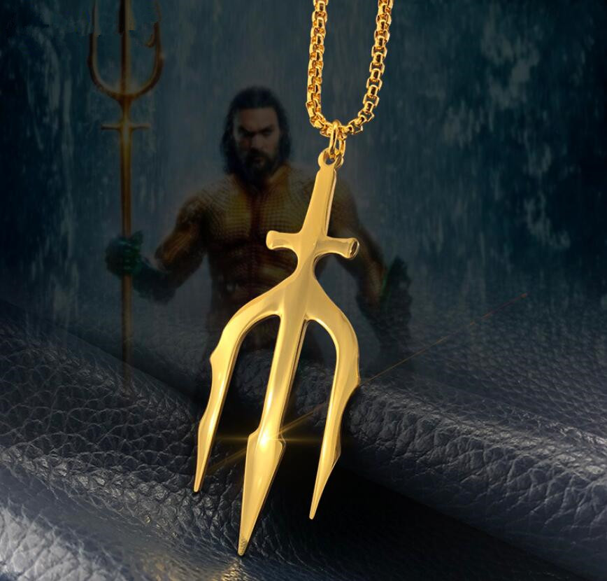 New Justice League Aquaman Arthur Curry Orin Trident Gold Cosplay Prop Handmade