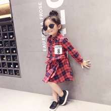 3-8 yrs 2017 New Fashion Girl Plaid Dress Super Number 8 Printed Children Clothing Cotton Long Sleeve Baby Girl Dresses