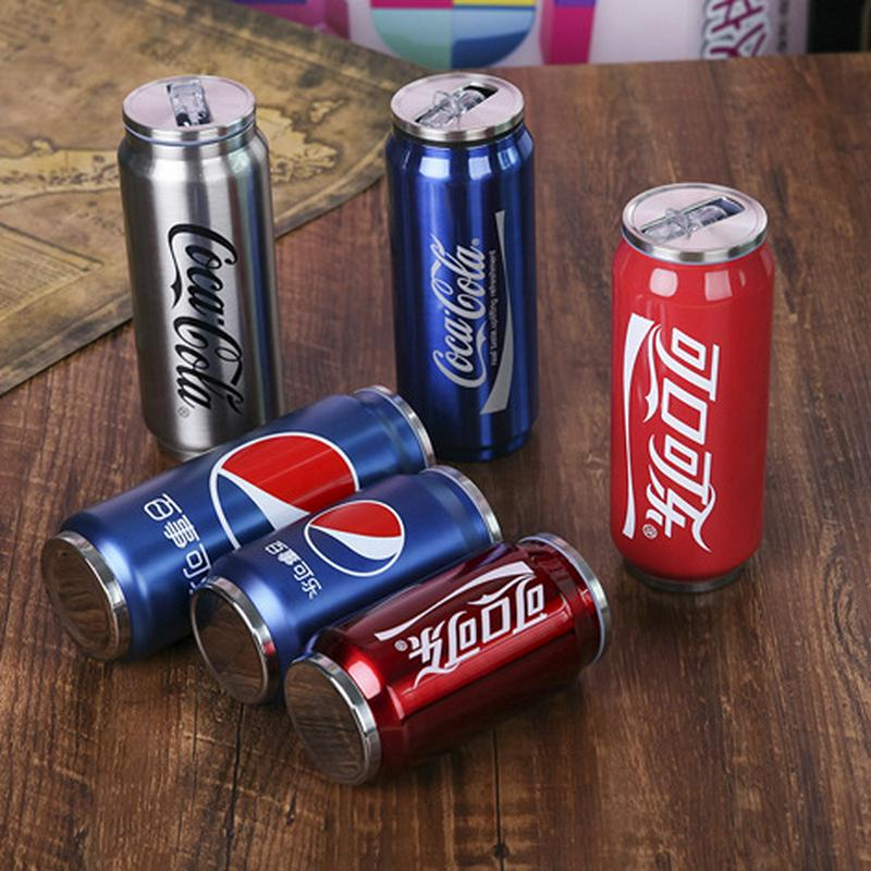500ML Creative Stainless Steel Beverage Cans Outdoor Travel Cup Bottle Mug Thermos Water Stylish Personality Portable