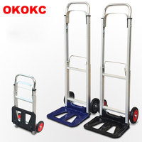 OKOKC Aluminum Alloy Folding Luggage Cart Carrier Use At Home Small Portable Shopping Trolley Car Retractable