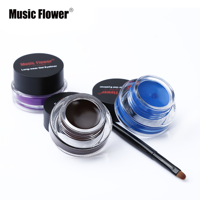 New Brand Music Flower Black Waterproof Eyeliner Gel Makeup Cosmetic Gel Eye Liner With Brush 24 Hours Long-lasting For Women 2