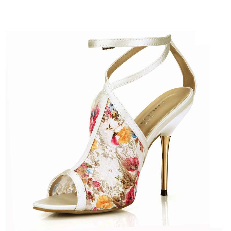 ФОТО Fashion Women Sandals Sexy High Heels Shoes Woman Buckle Lace Print Zapatos Mujer Sapato Tenis Feminino Ladies Party Dress Shoes