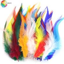 4-6 дюймов окрашенные натуральные перья петуха для DIY ювелирных изделий/наращивание волос/Аксессуары Ремесло Украшение Шлейф 50 шт./лот
