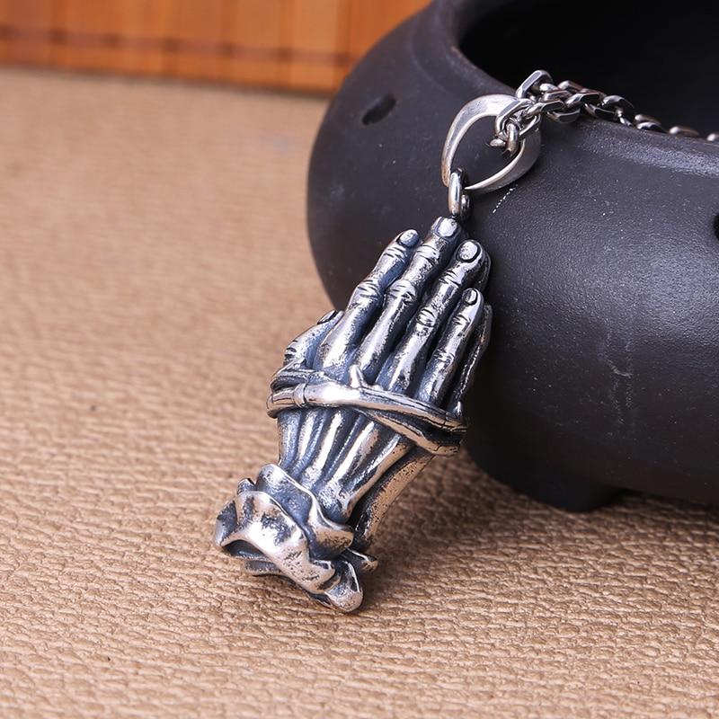 Spor ve Eğlence'ten Dış Mekan Aletleri'de EDC 925 Gümüş Bıçak Boncuk Bir Kolye Paracord Açık DIY Süslemeleri 925 Gümüş Kamp Dişli EDC Araçları