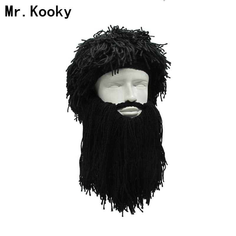 Mr.Kooky Men's Women's Crazy Wig Beard Savage Beanie Vagabond Hats Handmade Winter Birthday Gifts Funny Ski Mask Halloween Caps