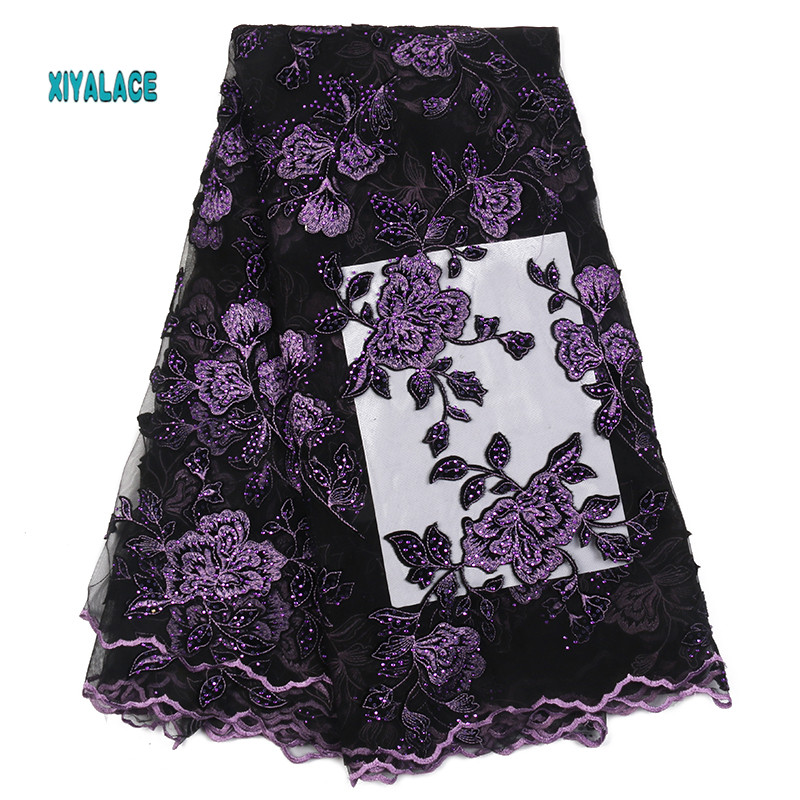 African Lace Fabric 2019 High Quality Nigerian Lace Fabrics Embroidery French Tulle Lace With Stones Fabric YA2369B-1