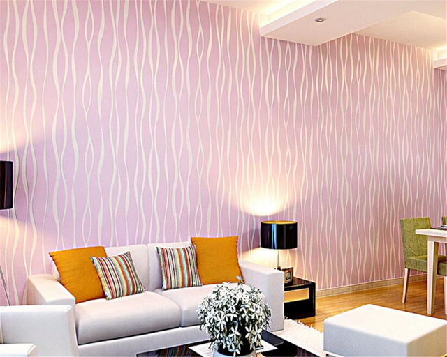 beibehang papel de parede Modern simple plain vertical striped wave ...