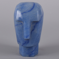 4 Figurine Poker Face 499g Natural Blue Aventurine Human Head Skull Statue Hand Stone Craft Feng Shui Home Decor Collectible