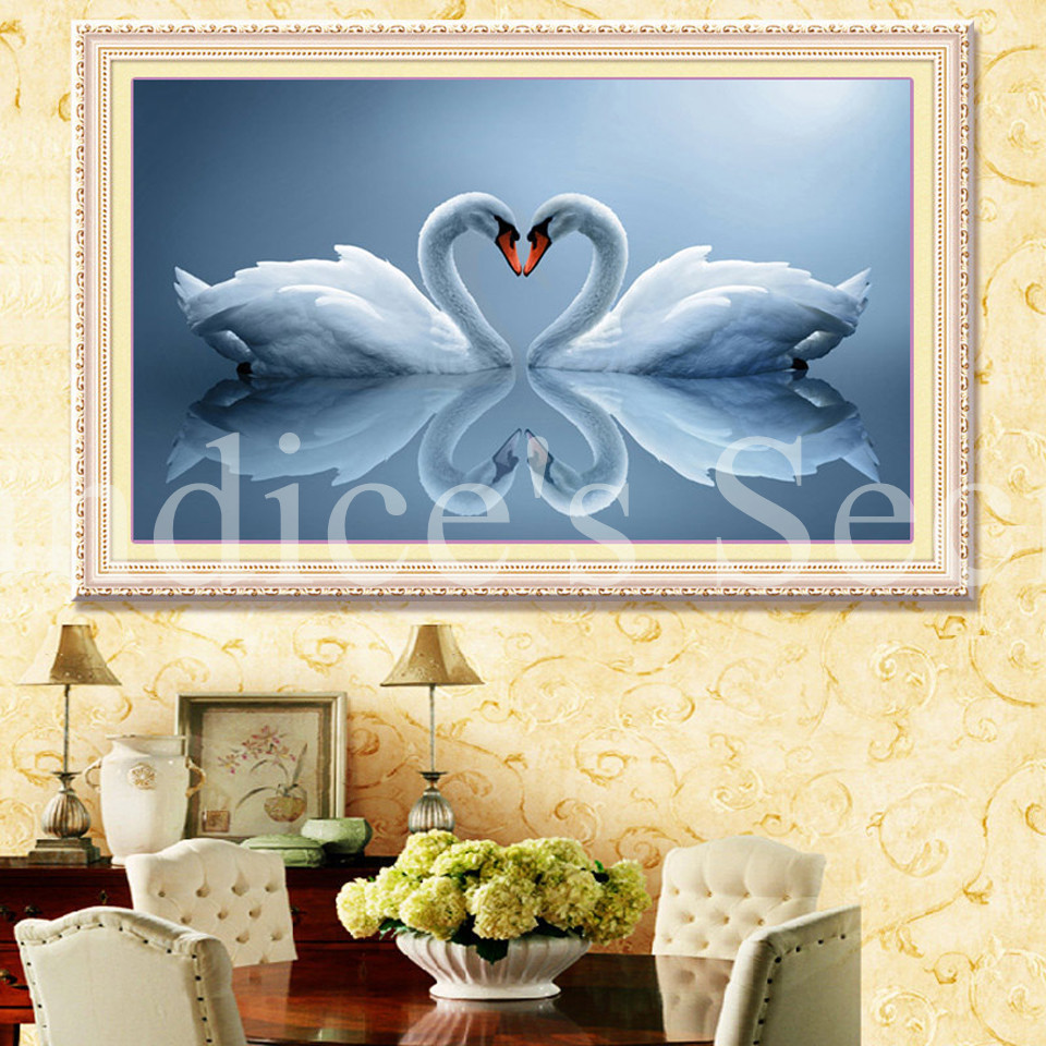 5D DIY Diamond Embroidery Swan River Kiss Stitch 3D Full Square ...