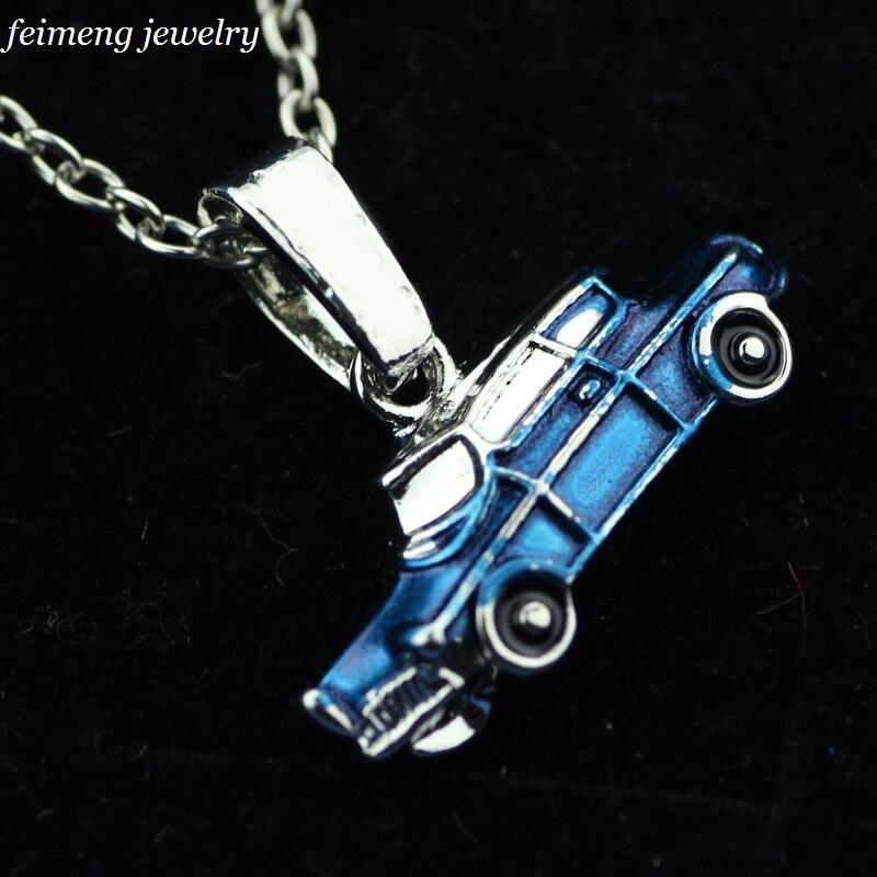 Lumos Weasley Blue Flying Car Pendant Hogwarts Magic School Magic Car Accessories Metal Necklace Toys for Kids Gift