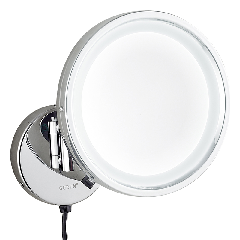 Gurun LED Makeup Mirror- 8 Inch Brass Cosmetic Mirror 10X Magnifier Wall Mounted Mirror bathroom compact blank M1807D