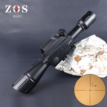 ZOS 6X42 Military Tactical Rifle Scope 30mm Tube Measure Distance Hunting Scope Optics Riflescope цена