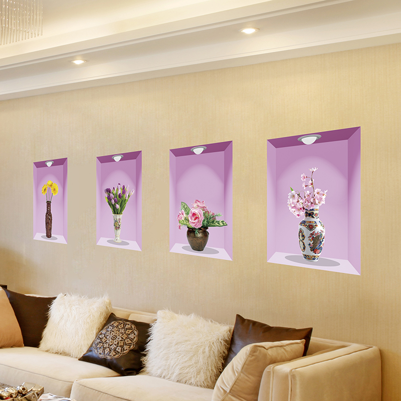 Graceful Vase 3D Wall Stickers Creative Decorative Decals Waterproof ...