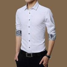 Плюс Размеры Корейская одежда для Для мужчин Сорочки выходные для мужчин с длинным рукавом Мода Весна Твердые камиза Slim Fit Hombre Бизнес официальная рубашка 5xl