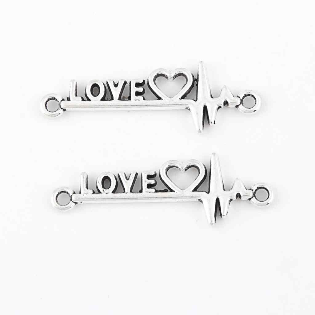 30 pcs โบราณ Sliver Vintage Heart Wave Charms รัก Heartbeat จี้ทำ Connector เครื่องประดับ Handmade สร้อยคอ 34x10 มม a3207