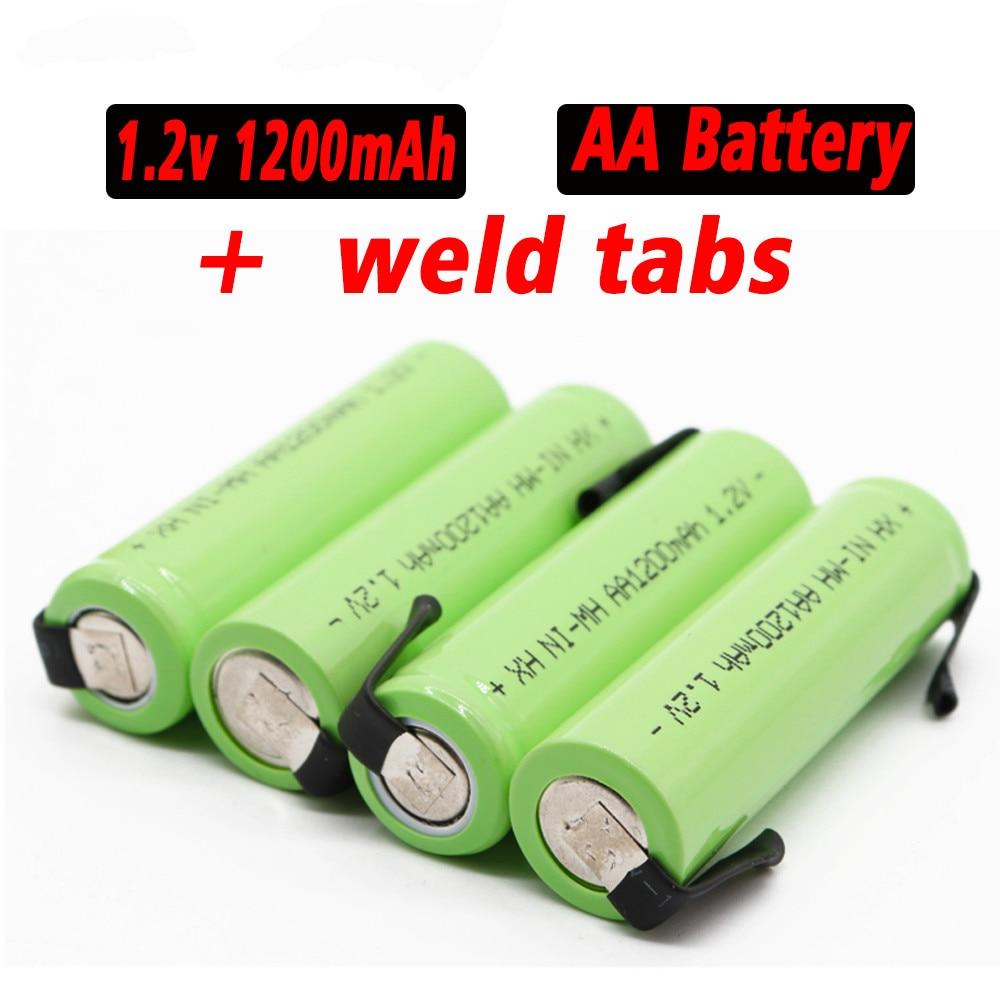 Aa bateria recarregável 1.2 v 1200 mah nimh 14500 aa bateria com solda para diy elétrica razor dentição brinquedos bateria de segurança
