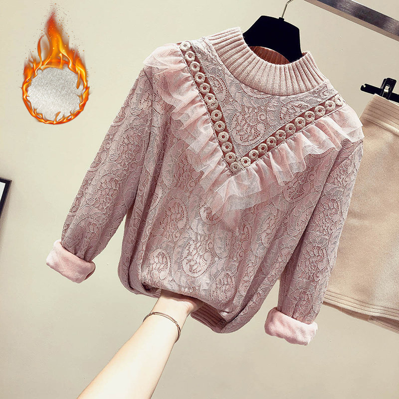 MUMUZI Women Winter Warm Lace Blouse Full Sleeve Lace Crochet Hollow Out Blusas Ruffle Blouse Spring Long Sleeve Fleece Blouses