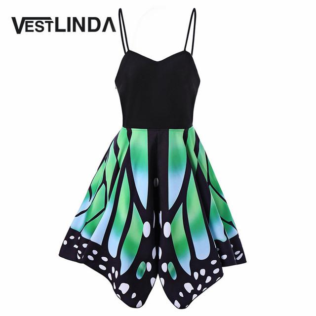 VESTLINDA Novelty Butterfly Shape Summer Dress 2017 Sleeveless Lace Up Sexy Beach Dresses Casual Women Party Dresses Vestidos