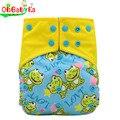 Ohbabyka baby all-in-two ai2 fraldas reutilizáveis camurça pano ajustável fralda de pano fraldas de bolso duplo gussets um tamanho 6 cores