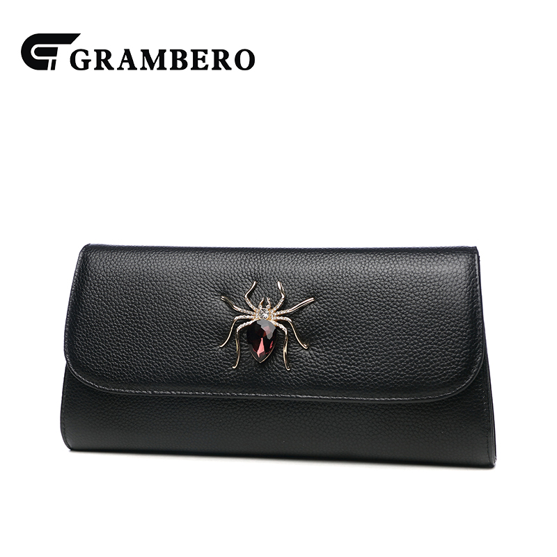 Korean Style Solid Color Spider Decoration Clutch Wallet Fashion Women Banquet Crossbody Shoulder Bag Top Leather Large Purse casual solid color top leather shoulder bag heart shaped decoration cover fashion women clutch wallet crossbody messenger bag