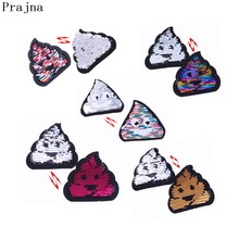 Prajna Funny Poo Poo Sequin Patches Cartoon Reversible Change Color Sequins Badge Iron On Patches For Clothing DIY Applique(China)