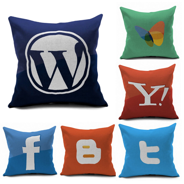 Beau Wordpress Website Internet Technology Symbol Logo Emoji Pillow Massager  Decorative Pillows Cover Euro Home Decor Gift