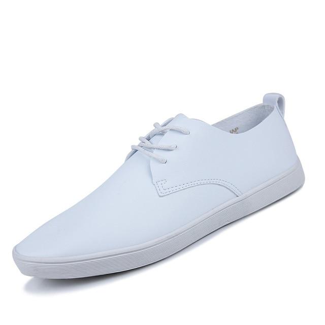 Весна Осень Новый Бренд мужской Вулканизируют Обувь Классические Черные Плоские Мужчин Повседневная Обувь Мода Дышащая Чистый Белый Кожаные Ботинки
